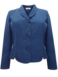 Karida NAVY Scallop Trim Single Breasted Jacket - Plus Size 12 to 20