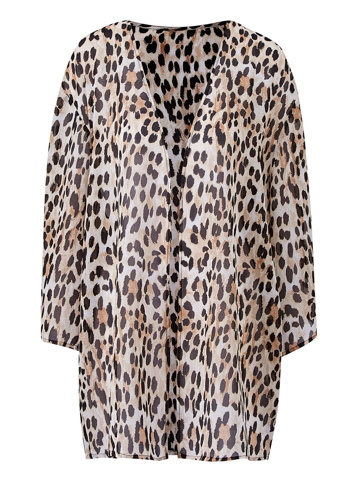e9133ef8b1 Wholesale Plus Size Boutique Clothing by Anthology - - Anthology BROWN Animal  Print Kimono Cover-Up - Plus Size 14 to 20