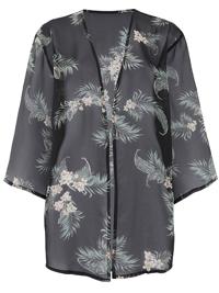 Capsule BLACK Printed Boxy Kimono - Size 10 to 32