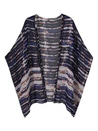 Capsule BLUE Tie Dye Printed Ladder Trim Kimono - Plus Size 12/14 to 32/34