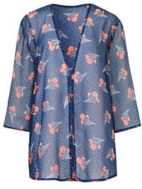 Capsule NAVY Floral Print Chiffon Kimono - Plus Size 16 to 32