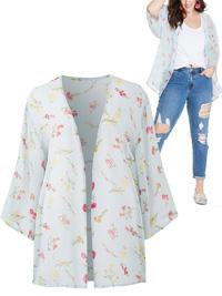 Capsule BLUE Floral Print Chiffon Kimono Shrug - Plus Size 14 to 32