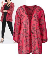 Capsule PINK Leaf Print Chiffon Kimono Shrug - Size 10 to 22