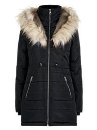 N3w L00k BLACK Hooded Faux Fur Trim Puffer Coat Jacket - Size 6 to 14