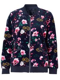 Cellbes NAVY Floral Print Bomber Jacket - Size 12/14 (EU 38/40)