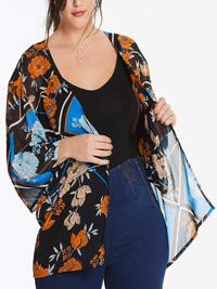 Capsule BLACK Scarf Print Kimono - Size 10 to 32