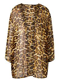 Capsule BROWN Leopard Print Longline Kimono - Plus Size 16 to 32