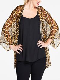 Capsule BROWN Leopard Print Longline Kimono - Size 10 to 32