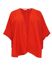 LabelBe BRIGHT-TOMATO Open Front Woven Kimono - Plus Size 12 to 32