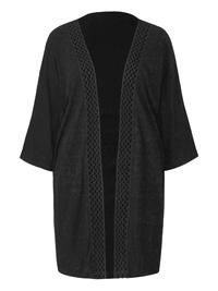 Anthology BLACK Lattice Trim Jersey Kimono - Plus Size 12 to 32