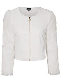 Bubbleroom WHITE Marina Faux Fur Sleeve Jacket - Plus Size 8 to 16 (EU 34 to 42)