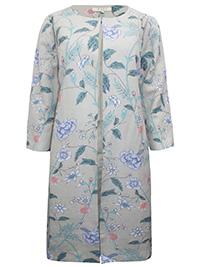 E4ST STONE Linen Blend Floral Print Longline Jacket - Size 10 to 20