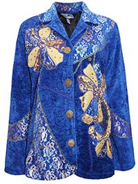 Indigo Moon ROYAL BLUE Overlay Patchwork Embellished Velvet Jacket - Size 12 to 24