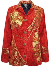 Indigo Moon RED Overlay Patchwork Embellished Velvet Jacket - Size 12 to 26