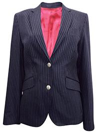 Turo Tailor BLACK Wool Blend Elbow Patch Striped Blazer Jacket - Size 10 to 20 (EU 36 to 46)