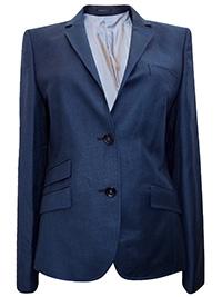 Tailor Women BLUE Denyse Pure Wool Two Button Blazer Jacket - Size 12 (EU 38)