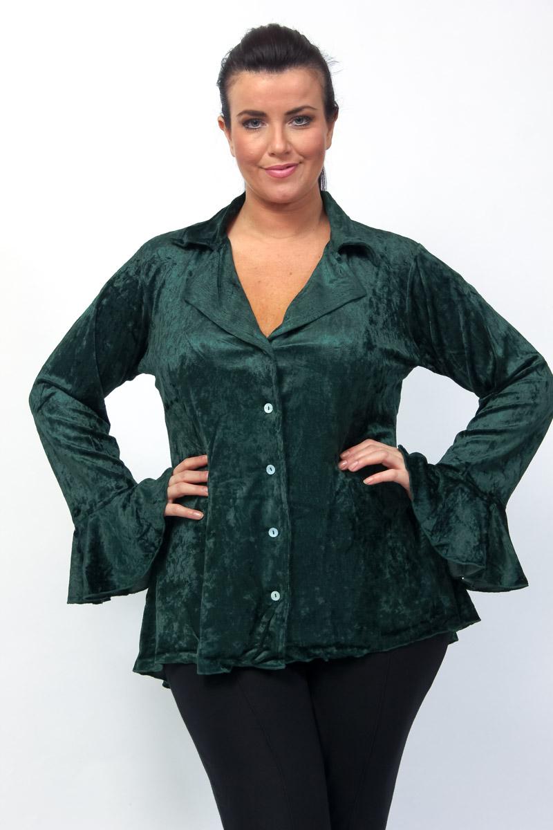 eaonplus EMERALD Gothic Velvet Dipped Back Ruffle Sleeve Shirt Jacket - Plus Size 18/20 to 34/36