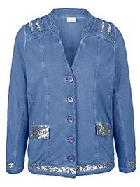 Mia Moda BLUE Pure Cotton Embellished Shredded Shoulder Jacket - Plus Size 16 to 36 (EU 44 to 64)