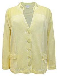 Mia Moda YELLOW Pure Cotton Embellished Long Sleeve Jacket - Plus Size 28 to 30 (EU 56 to 58)