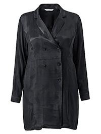 Ellos BLACK Agata Double Breasted Satin Jacket - Plus Size 18 to 34 (EU 44 to 60)