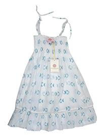 Bathsheba WHITE Girls Pure Cotton Fish Print Smocked Dress - Age 4/5Y to 10/11Y