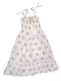 Bathsheba WHITE Girls Pure Cotton Fish Print Smocked Dress - Age 2/3Y to 8/9Y