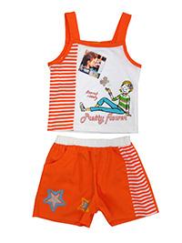 Baby Twill ORANGE Girls Sleeveless Character Print Vest & Shorts Set - Age 18M to 48M