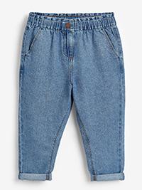 DENIM Girls Gathered Waist Mom Jeans - Age 3Y to 12Y