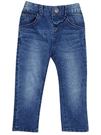 M&5 BLUE-DENIM Boys Cotton Rich Adjustable Waist Jeans - Age 12/18M to 6/7Y