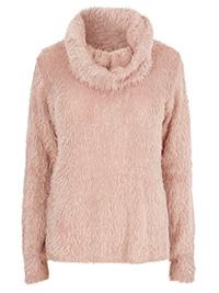 Y0URS PINK Cowl Neck Fluffy Eyelash Jumper - Plus Size 16 to 30/32