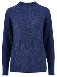 Curve Ellos BLUE Elvira Wool Blend Ribbed Knit Jumper - Plus Size 16/18 to 24/26 (EU 42/44 to 50/52)