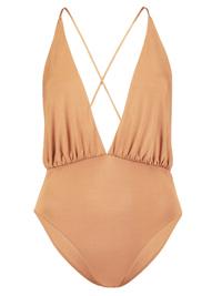 T0PSH0P CARAMEL Slinky X-Strap Bodysuit - Size 4 to 16