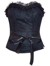 BLACK Strapless Lace Ribbon Waist Corset - Size Small