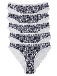 F&F NAVY 5-Pack Zebra Print Lace Brazilian Knickers - Size 6 to 16