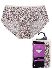 F&F IVORY 4-Pack No VPL Microfibre Animal Print Low Rise Shorts - Size 8