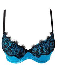Ann Summers AQUA/BLACK Macelyn Plunge Bra - Size 32 to 44 (G-H)