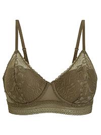 OYSHO KHAKI Lightly Padded Lace Bra - Size 32 to 38 (B-C)