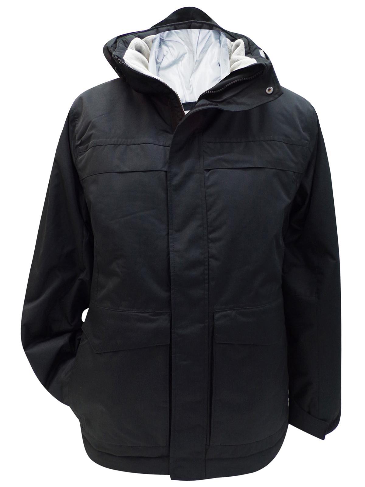 Athletic Works - - Athletic Works Black Panelled Detachable Hood Jacket -7727