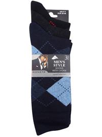 Mens Moneta NAVY 3-Pack Cotton Rich Argyle Socks - Shoe Size 6-11 (EUR 39-46)