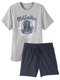 Livergy Mens GREY Mix Cotton Rich Pyjama Short Set - Size Medium to XLarge