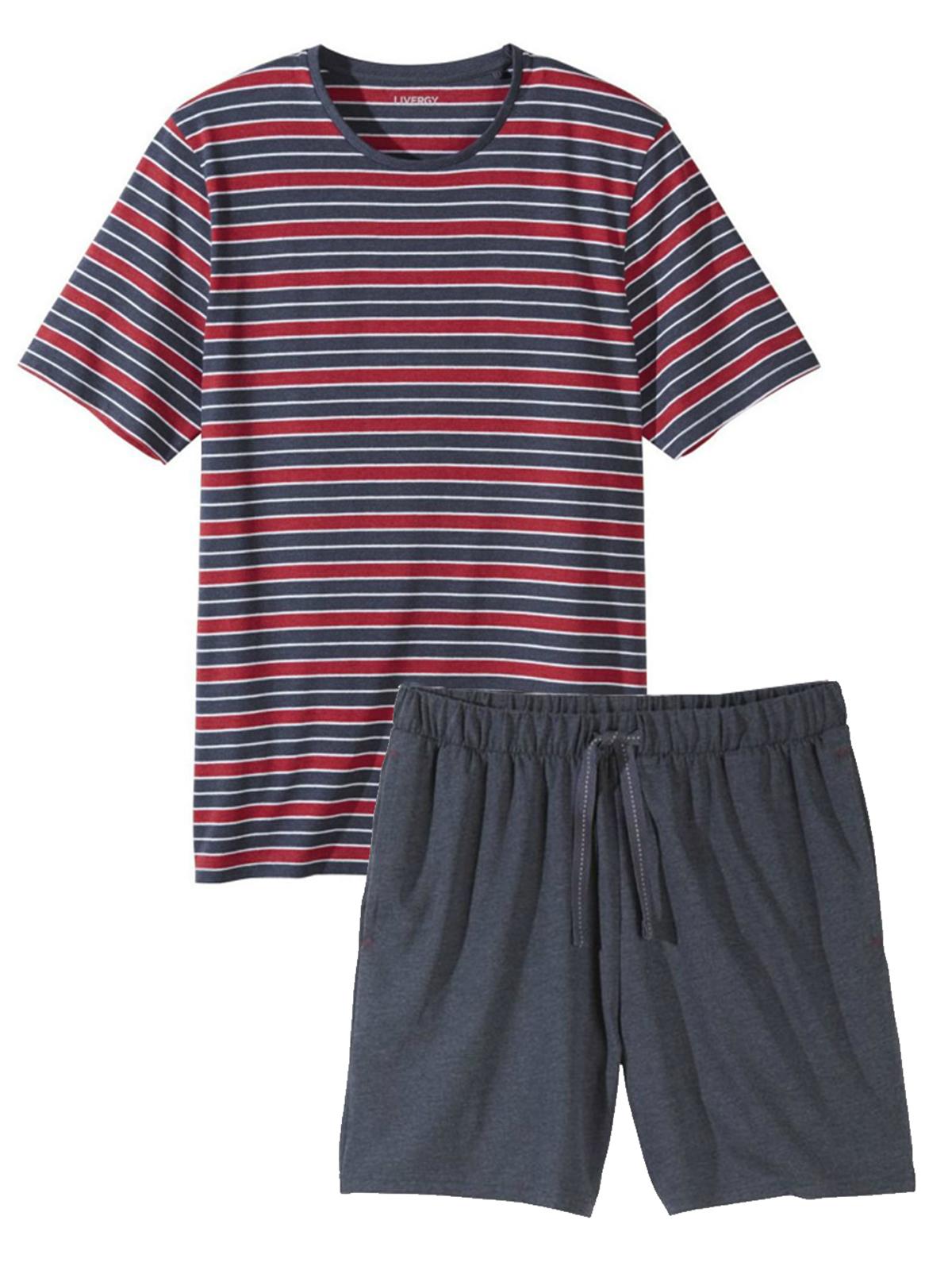 Livergy Mens NAVY RED Stripes Cotton Rich Pyjama Short Set - Size Medium to XLarge