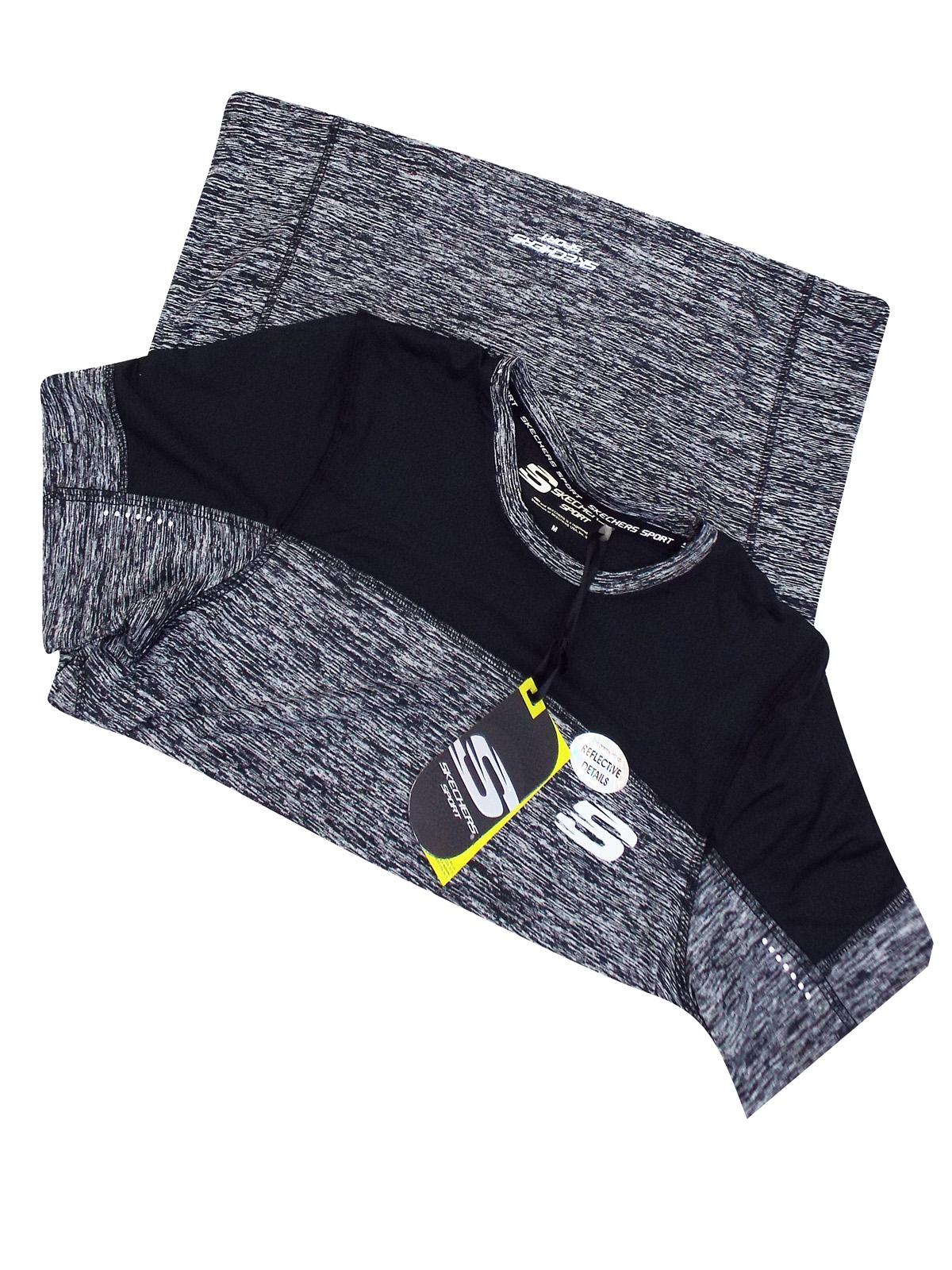 Mens Skechers  T-Shirt BLACK Pulsar Crew Neck Training Sports Size S M  New