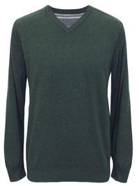 John Rocha Mens BOTTLE-GREEN Pure Cotton V-Neck Jumper - Size Medium to 3XL