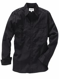 Jacamo Mens BLACK Pure Cotton Military Shirt - Plus Size L to 3XL