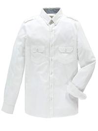 Jacamo Mens WHITE Pure Cotton Military Shirt - Plus Size Medium to 5XL
