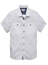 Jacamo Mens WHITE Pure Cotton Short Sleeve Military Shirt - Plus Size Medium to 5XL