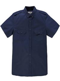 Jacamo Mens NAVY Pure Cotton Short Sleeve Military Shirt - Size L to 5XL