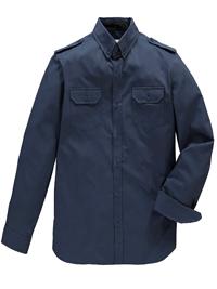 Jacamo Mens NAVY Pure Cotton Long Sleeve Military Shirt - Size Medium to 5XL
