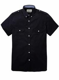 Jacamo Mens BLACK Pure Cotton Short Sleeve Military Shirt - Size XL to 5XL