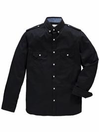 Jacamo Mens BLACK Pure Cotton Long Sleeve Military Shirt - Plus Size XL to 5XL